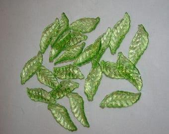 Acrylic Beads - Spearmint leaf  x 20