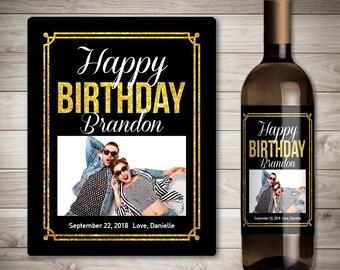 Photo Birthday Wine Label - Birthday Gift Wine Label - Custom Birthday Wine Label - Personalized Wine Label - Special Birthday Gift