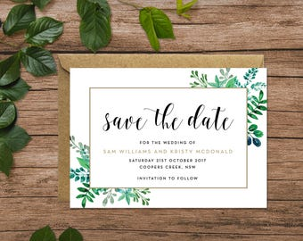 Rustic   Greenery   Foliage   Save the Date Cards A6 (Digital File - Printable PDF)