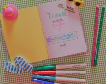 Travel planner booklet - Travel journal - Trip organizer - Vacation planner - A6 size - PVC cover to keep tickets