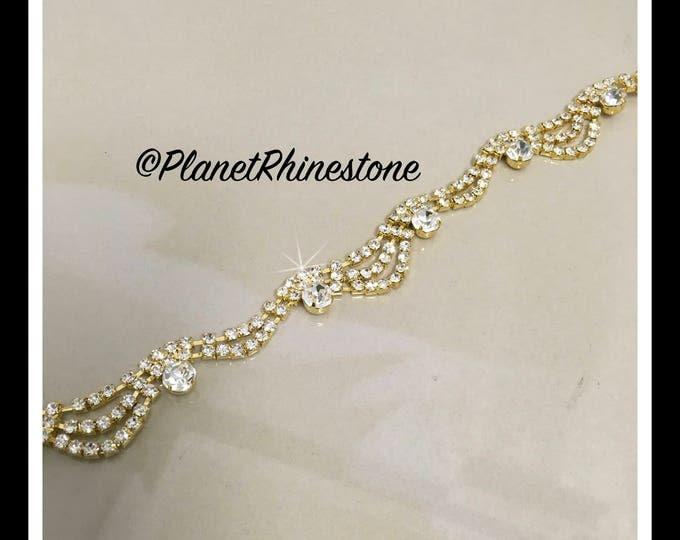 1 yard  Cinderella Rhinestone Trim (Silver, Rose Gold, Gold) #T-5