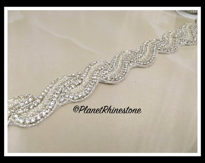 1 Yard Hot Fix Beaded Rhinestone Bridal Trim (Rhinestone Belt/Swarovski Shine) #I-7