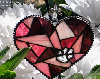 """Pet Memorial Garden Stake in Stained Glass, """"Forever in my Heart"""" Heart Shaped Suncatcher, Pet Grave Marker, Pet Loss Gift, 2pc"""