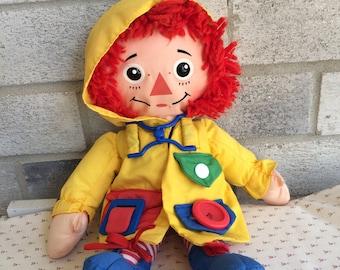 1991 Playskool Raggedy Ann Doll, Rageddy Ann doll, Rag doll, Playskool Dress Me Raggedy Ann Doll Vintage Plush Zip, Buckle, Button, Snap