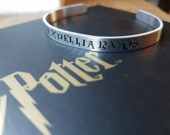 """Hand Stamped """"Expelliarmus"""" Harry Potter Inspired Bracelet"""