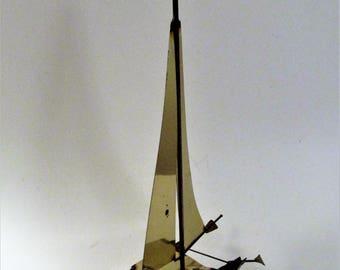 Brass Catamaran Sailboat Sculpture With Marble Base-signed Mario Jason