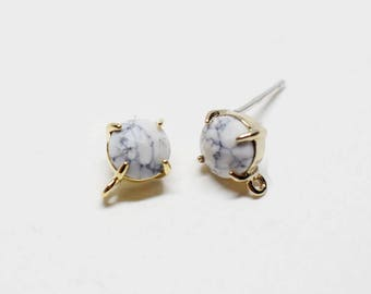 E0157/Anti-Tarnished Gold Plating Over Brass+Howlite Gemstone/Bazeled Faceted Circle Howlite Gemstone Earrings/8x10mm/2pcs