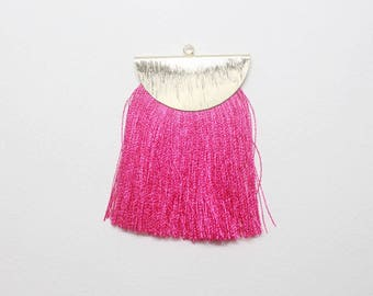 T001601/Anti-Tarnished Gold plating Over Brass +Synthetic Thread/Large Flat Tassel with Half Moon Cap/35x60mm/2pcs