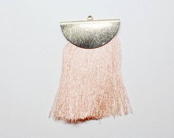 T001606/Anti-Tarnished Gold plating Over Brass +Synthetic Thread/Large Flat Tassel with Half Moon Cap/35x60mm/2pcs