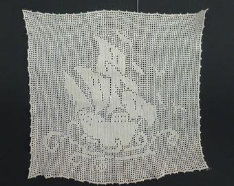Vintage White Filet Crochet Panel, Sailing Ship
