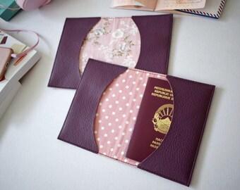 Purple passport holder, faux leather travel holder, passport cover, vegan leather documnets case, vinyl holder