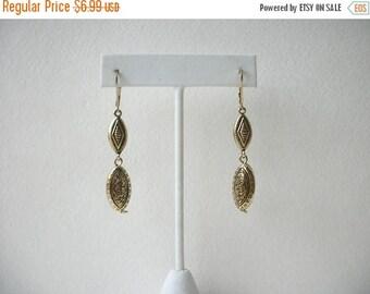 ON SALE Retro Gold Black Damask Long Dangling Earrings 5917