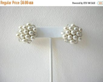 ON SALE Vintage Cluster 1950s Faux Pearl Clear Glass Clip On Earrings 72617