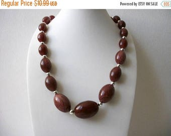 ON SALE Vintage Marbleized Lucite Plastic Silver Tone Spacers Necklace 80117