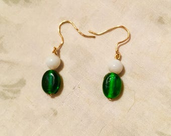 Gold Plated Green and White Beaded Earrings