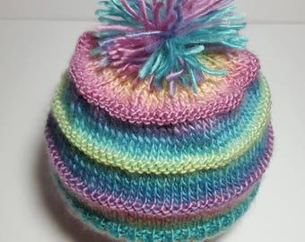 Baby knitted hat, original winter hat, chapeau tricoté, chapeau bébé, tuque bébé, baby shower gift, cadeau nouveau né, bleu pale