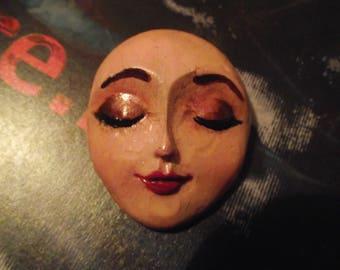 Handpainted Doll Face Brooch