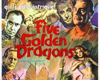 Back to School Sale: Five Golden Dragons Movie POSTER (1967) Thriller/Action