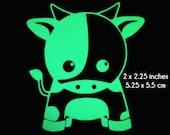 Cow Glow in the Dark Decal / Sticker - Kawaii Cute Smilely - Macbooks, iPhones, Andriod, Halloween, Laptops, Windows
