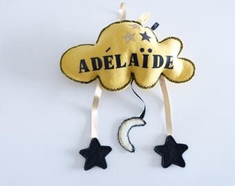 Cloud mobile mustard to customize it for a nursery or child