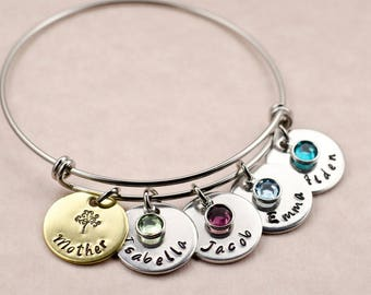 Personalized Birthday Gift for Mom - Custom Engraved Hand Stamped Charm Bracelet - Bangle - Names - Gift for Mother - Mother's Day Gift