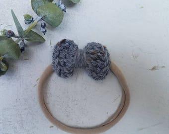Gray Baby Girl Headband  / Nylon Headband / Small Nylon Baby Headband / Baby Shower Gift / Girl Small Headband / Baby Shower Gift Headband