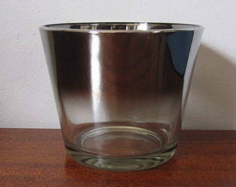 "Vintage 60s Dorothy Thorpe Silver Ombre Queen's Lusterware Glass 5"" Planter Bowl"