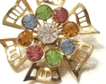 Vintage Multi Color Rhinestone Goldtone Pin Brooch