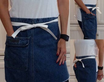 SALE Denim half apron, Extra large pocket, white webbing waist ties, dark blue repurposed denim, hidden large pocket, upcycled denim