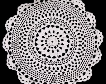 "6"" Set of 6 Bowl mats or Large Coaster ( half Dozen) White Round Cotton Crochet Lace Doily Doilies"
