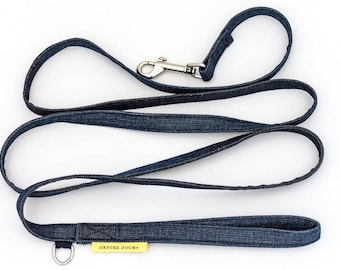 Upcycled jeans dog leash // refined, casual, classic - dark wash denim - silver metal - leash for small & medium dogs - gifts for dog lovers