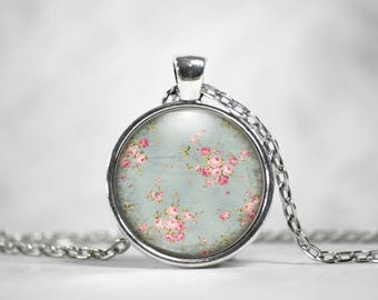 Flower Pendant, 25mm Round Pendant, Cottage Chic, Flower Jewelry, Floral Pattern, Vintage Jewelry, Gifts For Her