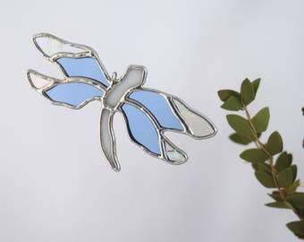 Dragonfly Glass Ornament Stained Glass Suncatcher Meaningful Gift, Condolence Gift, Summertime Garden Decoration, Handcrafted in USA
