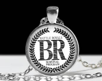 "Battle Royale Necklace - Japanese Cult Classic Horror Movie and Manga - Batoru Rowaiaru -  Gothic, Punk Jewelry - 1"" Silver & Glass Pendant"