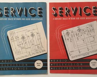 2 Vintage Service A Monthly Digest of Radio and Allied Maintenance / Radio, Television, Electronics 1944 WWII Era Magazines