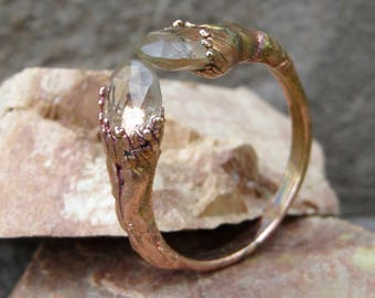 MADE TO ORDER | Copper electroformed faceted quartz ring | Electroplated split copper ring with faceted quartz droplets
