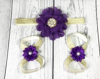 Baby Girl Headband / Baby Girl / Baby Headband / Baby Barefoot Sandals / Infant Barefoot Sandals / Purple / Gold / Royal / Beautiful / Bows