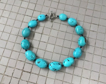 Genuine Turquoise Necklace, Knotted Natural Blue Chinese Turquoise Pebble & Black Lava Beaded Necklace, Hubei Turquoise Beaded Necklace