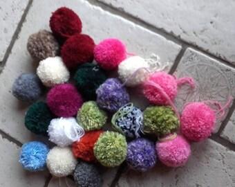 set of 24 handmade multicoloured acrylic wool tassel