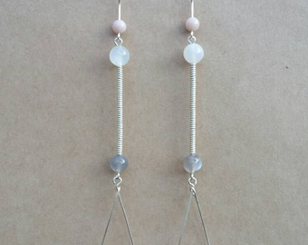 Moonstone, Mexican Porcelain Jasper and Sterling Silver Earrings