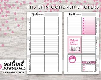 Planner Printable - Weekly Inserts - Erin Condren Size Boxes - Filofax Personal - Kikki K Medium -3.75 x 6.75 in- Design: Wanderlust