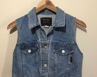 Cropped Denim Vest from 80s Be-Bop// size M