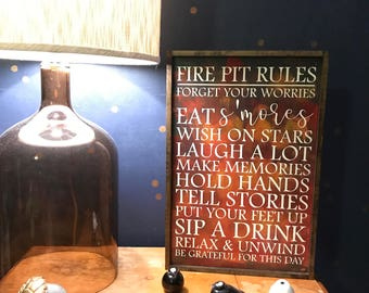 Fire Pit Rules Sign