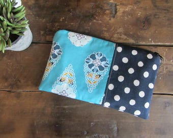Make-up or Pencil Bag, Navy and Aqua Floral, Zipper Storage Bag, Fabric Make Up Bag, Long Rectangle Make Up Bag