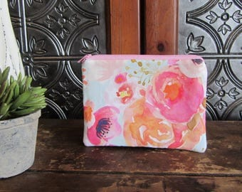 Small Watercolor Floral Zipper Bag, Mini Zip Bag, Coin Purse, Medicine Bag, Phone Case, Baby Storage