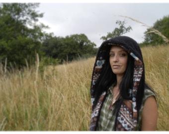 Reversible Hood/ Fairisle/ Festival hood/ fairisle hood/ scoodie/ light hood/ fairisle hood/pocahontas/Spirit hood/burning man/warrior hood