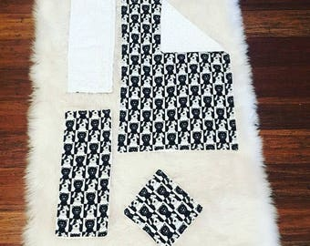 Minky Baby Blanket, Bib, Minky Burp Rag, and Minky Wipe Set - Black and White Dog & Cat Print