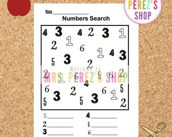 Numbers Search (Numbers 1-6) Preschool, Kindergarten