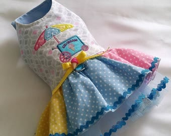 Sample Sale! Chihuahua dress small Dog clothing coat ice cream cart puppy dress Yorkie outfit XS