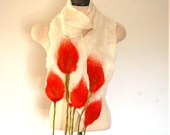 Spring Scarf Flower Silk Scarf Felt Clothing Felted Necklace Tulip Scarf Rosebud Scarf Unique Handmade Jewellery Womens Scarves Collars